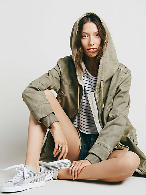 Solid Knit Mixed Cargo Jacket