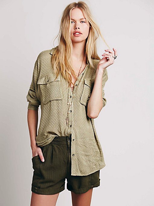 Textured Drippy Shirt with Pockets