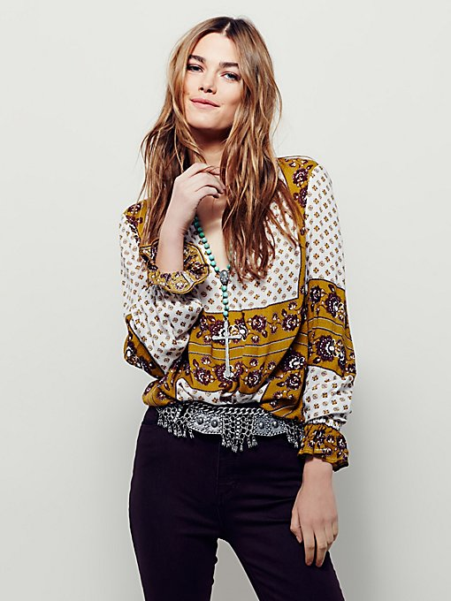 Border Print Collar Tunic