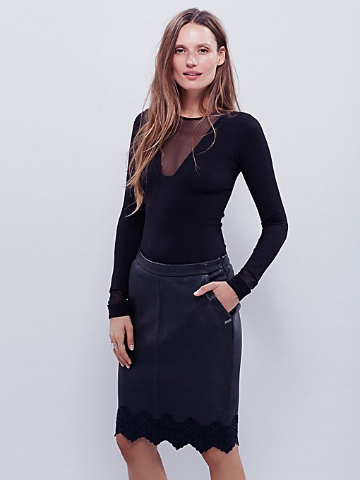 Lace Hem Leather Pencil Skirt