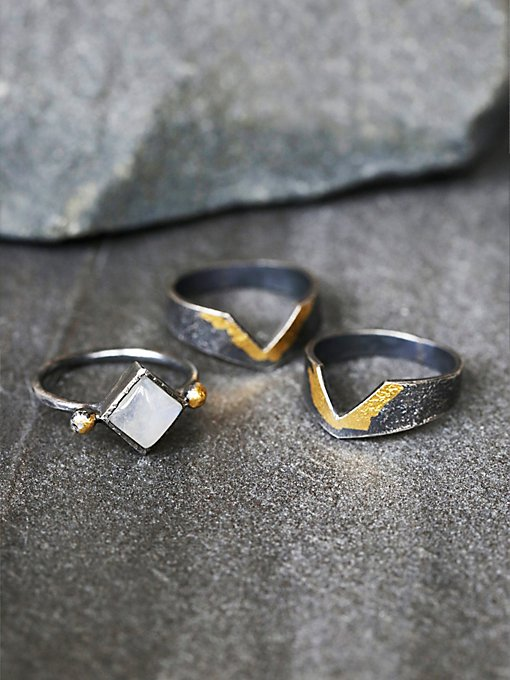 Golden Moon Ring Set