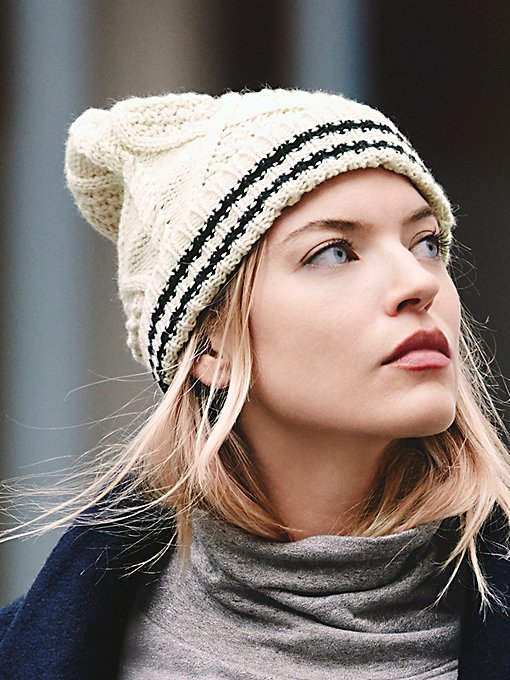 Sporty Stripe Double Beanie