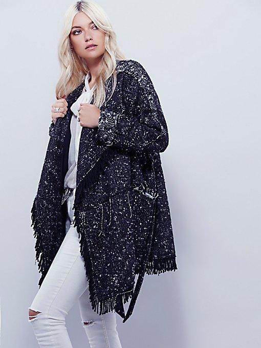 Fringe Wrap Blanket Coat