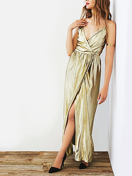 Vintage 70s Gold Metallic Dress