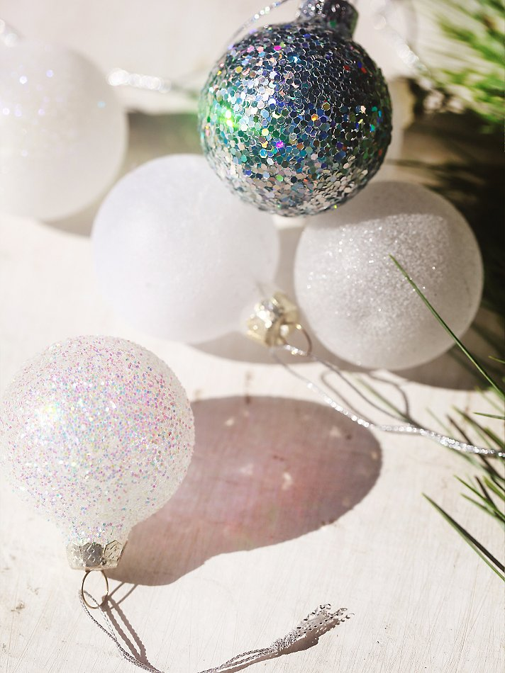 Glittered glass ornaments