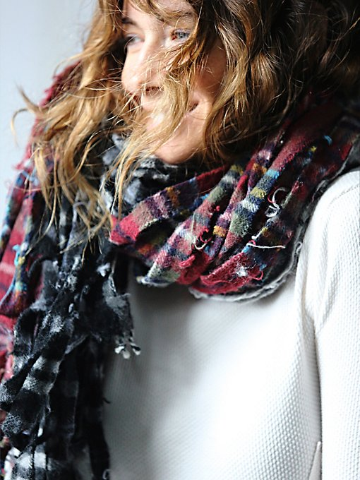 Shredded Vintage Plaid Wool Scarf