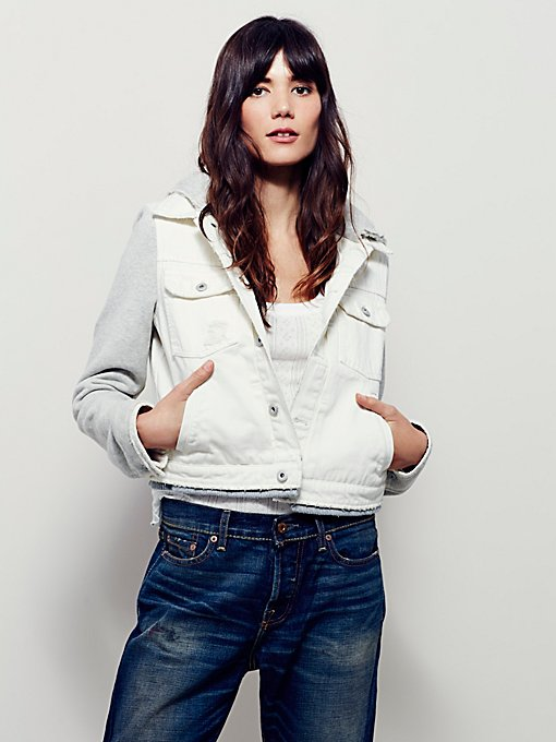 Denim & Knit Cropped Jacket