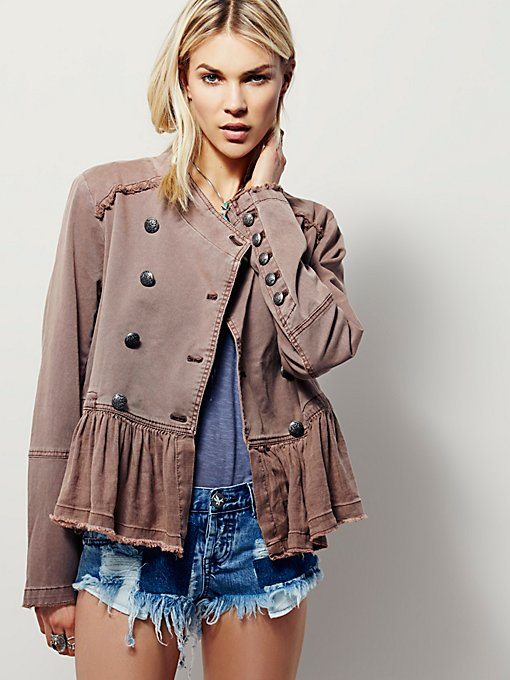 Flared Hem Military Jacket