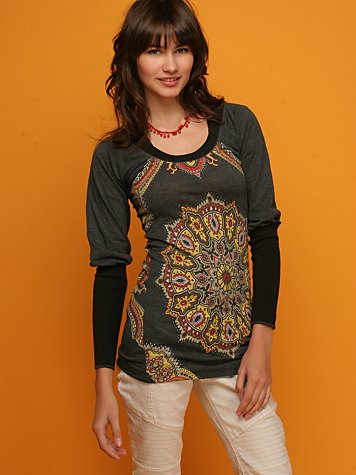 Grazing Peacock Long Sleeved Top